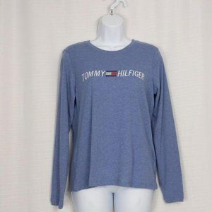 Tommy Hilfiger-long sleeve blue spell out shirt S